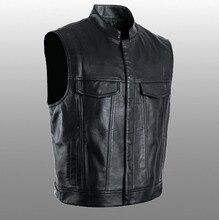 PU yelekler erkekler kolsuz ceket yelek erkek Streetwear deri Punk Hip Hop siyah 2019 yeni marka motosiklet yelek ceket mont