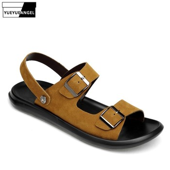 Brand Leather Men Shoes Summer New Slip On Casual Sandals Fashion Buckle Beach Sandals Men Slippers Yellow Black Plus Size 37-45