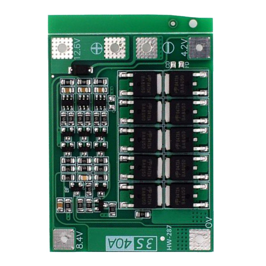 (287) 3 String 11.1v 12.6v 18650 Lithium Battery Protection Board With Balanced Startable Drill 40a Current