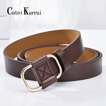 Catei Karrui Fashion Womens Leather Belts authentic leather ladies trend retro punk student youth women for Jeans Dress Pants