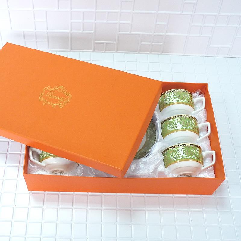 Высокое качество костяного фарфора кофе набор Делюкс абстрактный Ветка лозы узор чашки набор из 12 шт. 90 мл подарок на день рождения праздник
