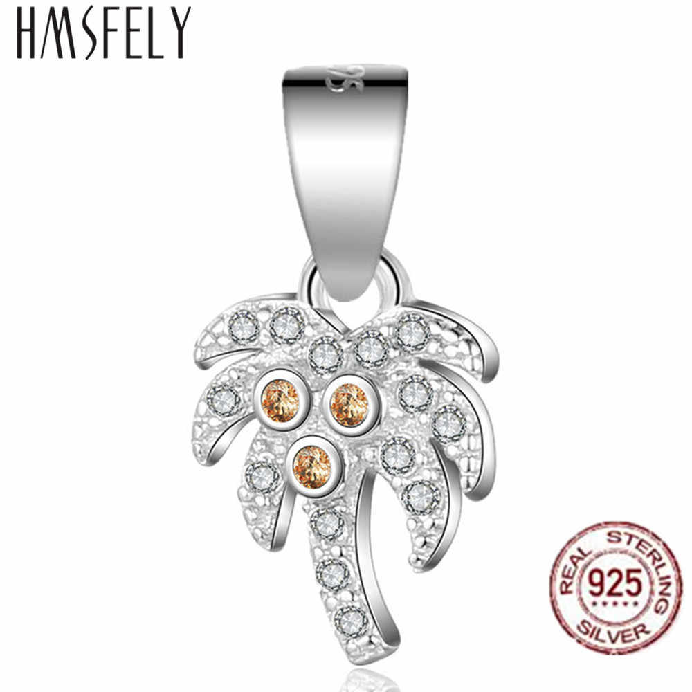 HMSFELY Real 925 Sterling Silver Charms Coconut Palm Pendant DIY Charm Bracelet Accessories Dangles For Gift Jewelry Making