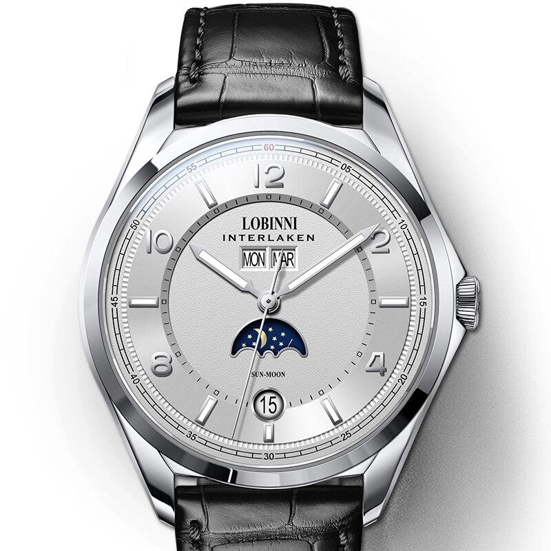 Switzerland Luxury Brand LOBINNI Watches Men Automatic Mechanical Men's Watch Multi-function Sapphire Moon Phase Clock L18016-1