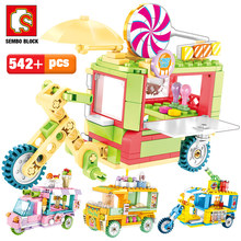 SEMBO City Street Scene Creative Building Blocks amici gelato Car Truck Snack box figure mattoni giocattoli per bambini