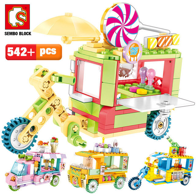 SEMBO City Street Scene Creative Building Blocks Friends Ice Cream Car Truck Snack Stall Figures Bricks Toys for Children