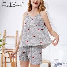 FallSweet été coton pyjama Femme vêtements de nuit Sexy grande taille vêtements de nuit XXXL sans manches ensemble de Pyjamas
