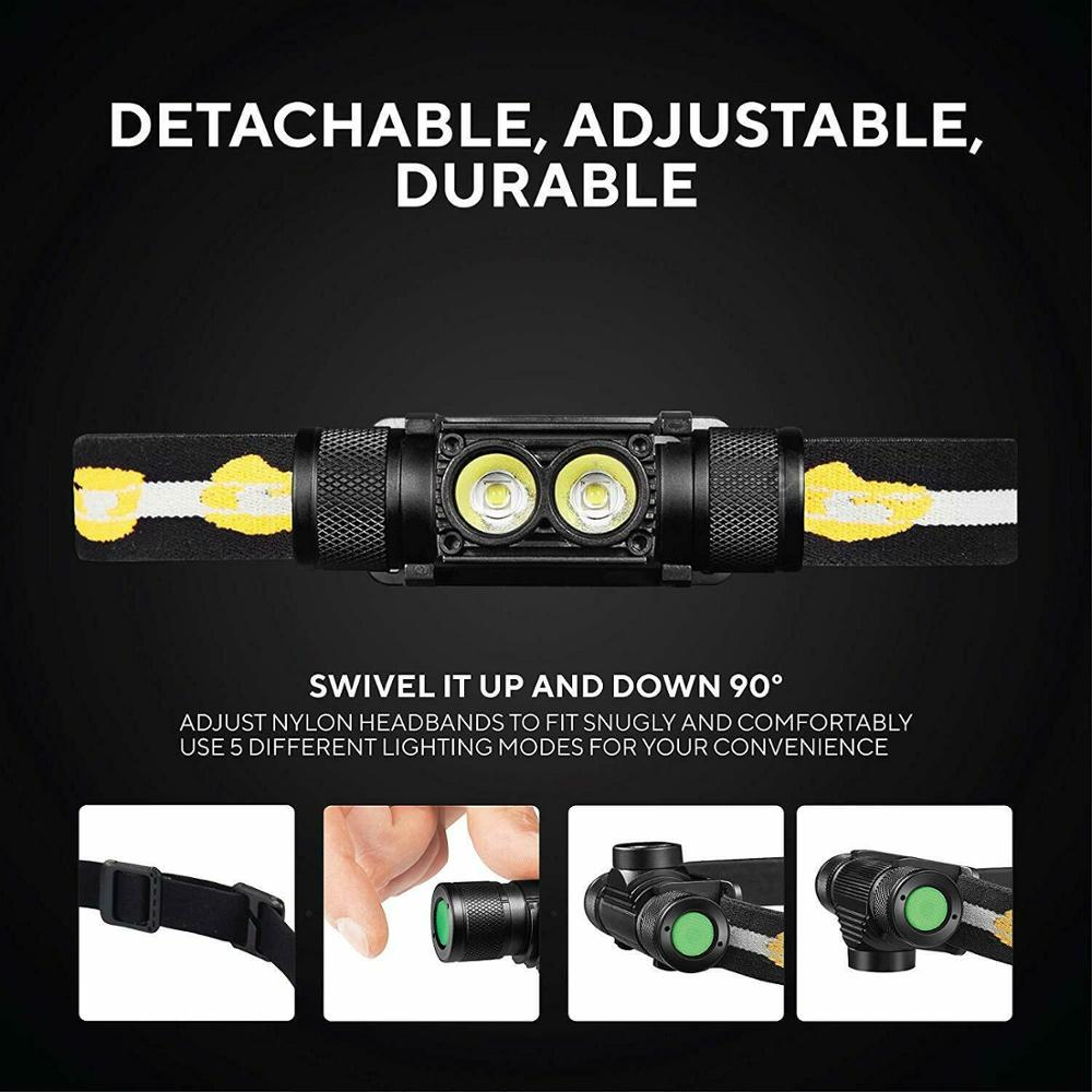 D25S Headlamp 18650 Headlight Dual Luminus SST40 LED 1200lm USB Rechargeable Lamp