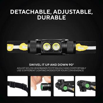 D25S headlamp 18650 headlight dual Luminus SST40 LED 1200lm USB Rechargeable lamp