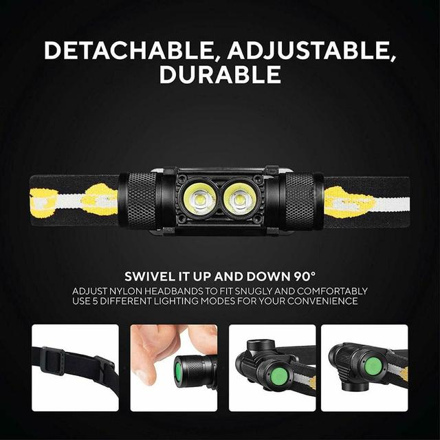 D25s farol 18650, luminus duplo sst40 led 1200lm usb lâmpada recarregável