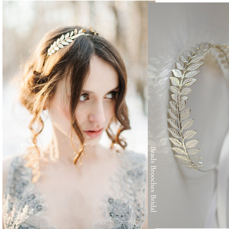 New Fashion Bride Beautiful Simple Generous Metal Leaves Leaf Crown Hair Band Headband Women Girls Hair Accessories Headdress