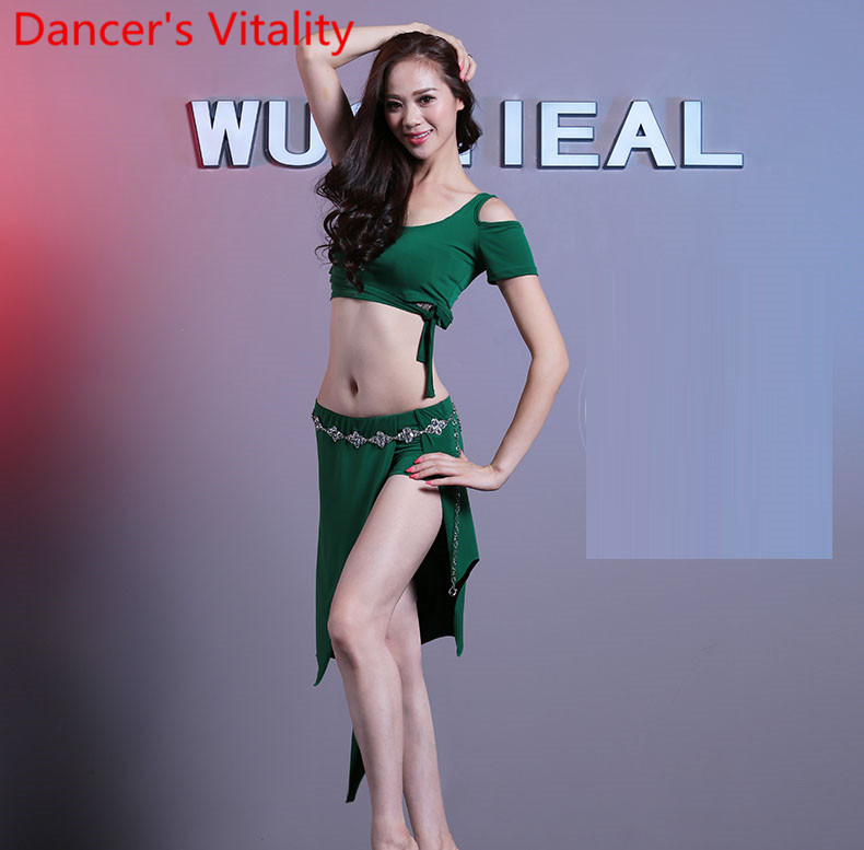 Cheap Belly Dance Suit Short Sleeves Top+Skirt 2pecies For Women Belly Dancing Practice Set