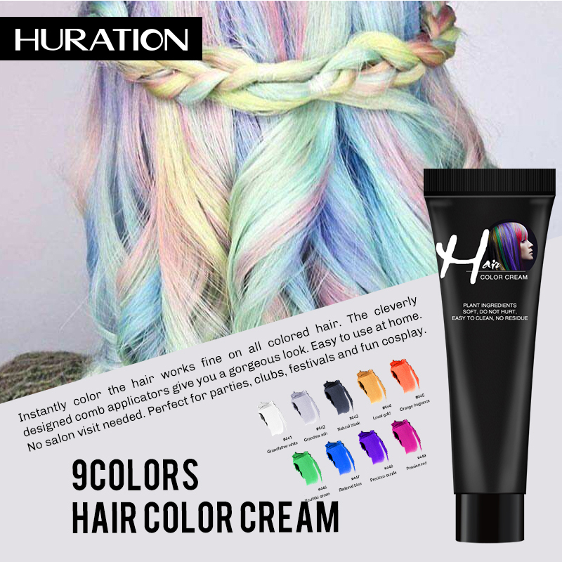Huration Fashion Salon Hair Dye Cream Gray Punk Girls Beauty Hair Colors Permanent Hair Dye Color Style Light Grey Silver Cream