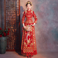 Red Trailing Qipao Women Bride Traditional Wedding Gown 2019 New Chinese Gold Embroidery Dress Cheongsam Style Chinois Femme