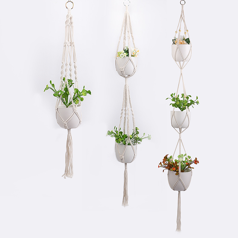 90/105cm Handmade Macrame Plant Hanger Vintage Cotton Linen Flowerpot Holder Indoor Wall Hanging Basket Boho Wedding Home Decor