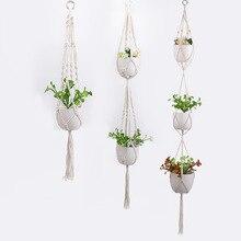 Macramé para planta hecho a mano de 90/105cm, percha Vintage de algodón, lino, maceta, soporte para pared interior, cesta colgante, decoración Bohemia boda para el hogar