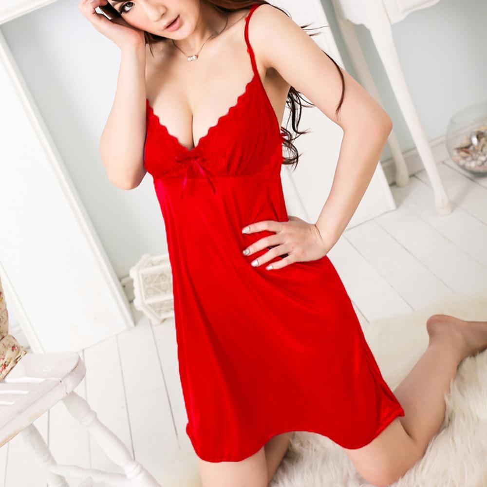 Women's Sexy Lingerie Silk Nightgown V-Neck Sleepwear Lace Nightdress Satin Nighties Ladies Summer Night Dress Lace Nightwear