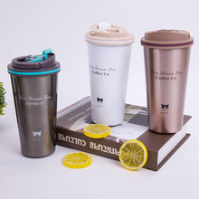 500ML Thermos Mug Coffee Cup with Lid Thermocup Seal Stainless Steel Vacuum Flasks Travel Thermol Portable Car Thermos термос термос la playa mercury 500ml blue 560076
