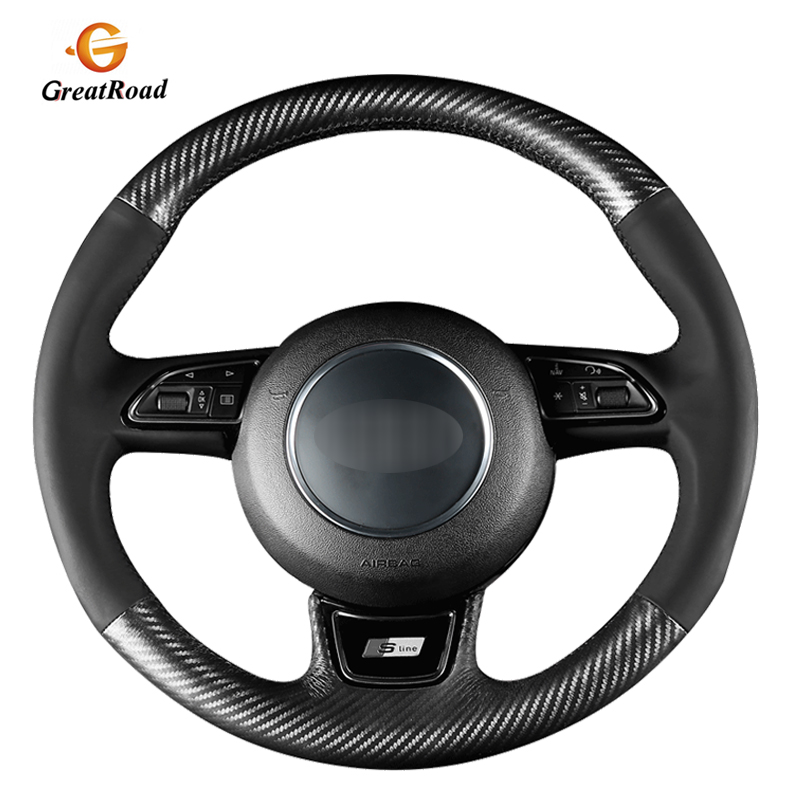Carbon Fiber Leather Black Leather Car Steering Wheel Cover for <font><b>Audi</b></font> A1 8X A3 8V <font><b>Sportback</b></font> A4 <font><b>B8</b></font> Avant <font><b>A5</b></font> 8T A6 C7 A7 G8 A8 image
