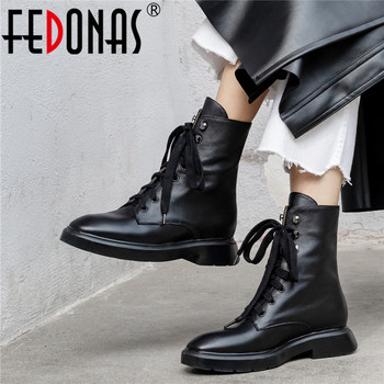 FEDONAS Genuine Leather Women Autumn Winter Warm  Casual Basic Shoes Lace Up Ankle Boots Shoes Woman Concise Round Toe Boots