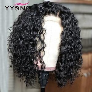 YYONG 13x4 человеческие волосы спереди, бразильские волосы с глубокой волной, короткие волосы, парик с предварительно отобранными волосами, 120% п...