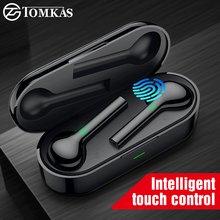 TOMKAS-auriculares inalámbricos Mini TWS con Bluetooth, Auriculares deportivos a prueba de agua con micrófono Dual para teléfono móvil Flypods