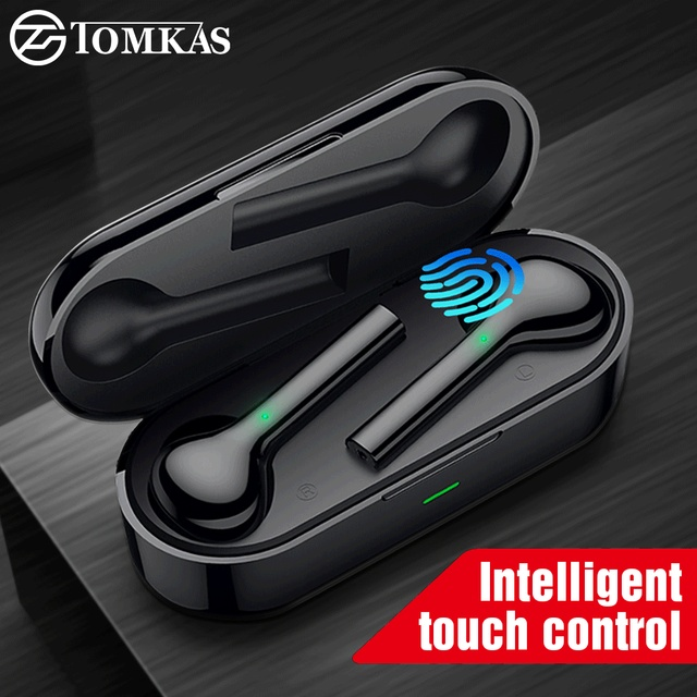 TOMKAS Mini TWS Bluetooth Wireless Earphone Headphones Freebud Waterproof Sport Headsets With Dual Mic For Mobile Phone Flypods