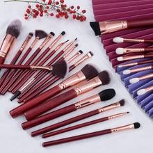 BEILI No Logo 25pcs Burgundy Red Make up Brush Set Contour Powder Foundation Blending Eyebrow Goat P