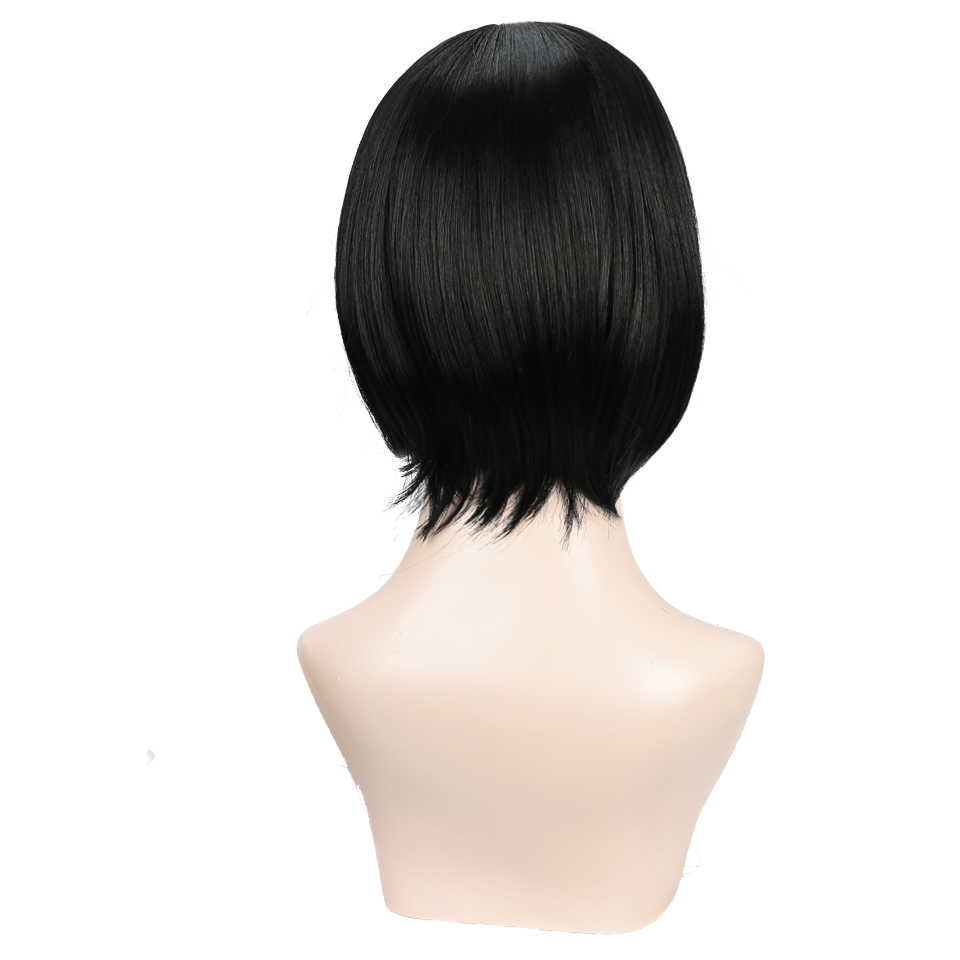 DIFEI marrón/Rubio/negro corto recto resistente al calor Peluca de pelo sintético para Mujeres Negras/blancas Cosplay o la fiesta de Bob pelucas