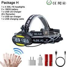 2504 Inductive body motion sensor 12000LM LED head lamp light 4 * T6 + 2 COB outdoor headlight Use 18650 batteries flashligh