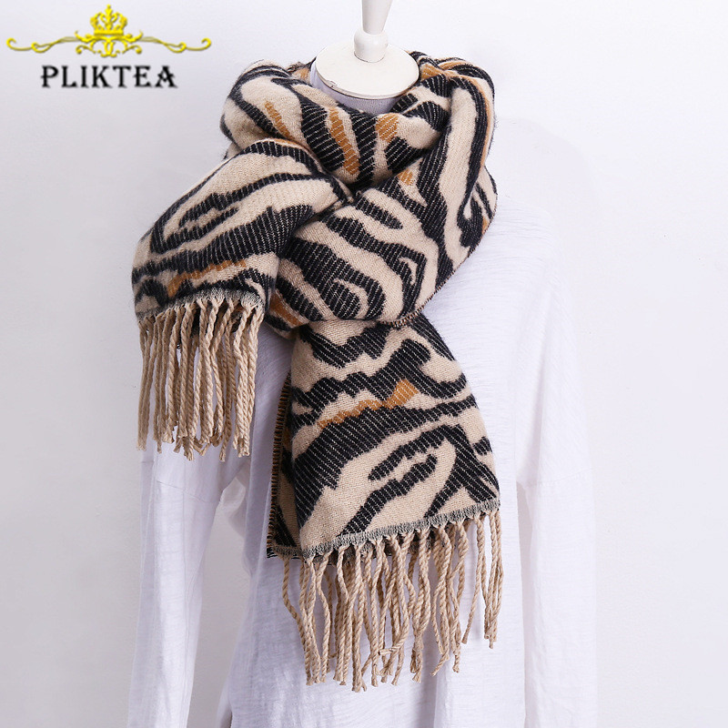 Fashionable Zebra Animal Printed Scarf For Women Blends Wool Leopard Shawl Scarves Female Winter Poncho Faux Cashmere Stole Wrap