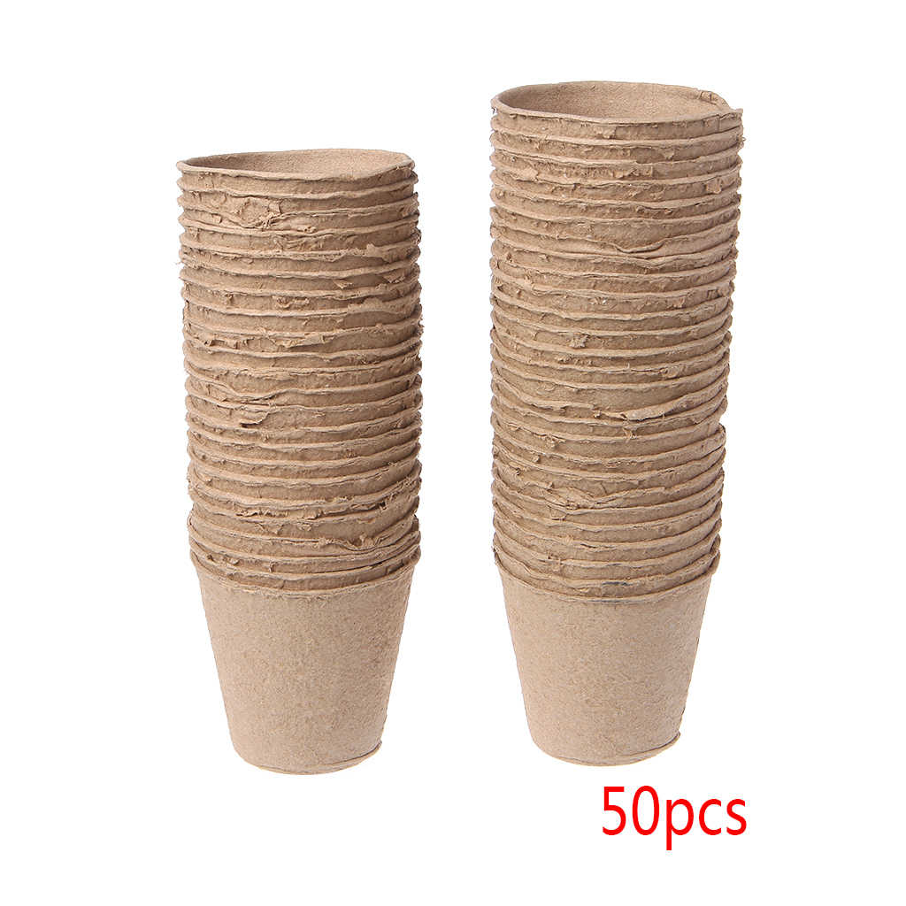 50Pcs Round Biodegradable Paper Pulp Peat Pots Nursery Cup Tray Garden New Drop Ship Support