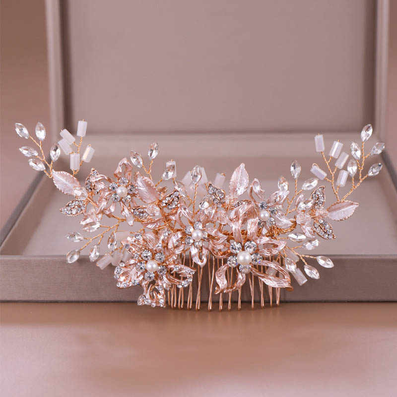 FORSEVEN Rose Gold Pearl Bead Hair Comb Tiaras Crystal Flower Hair Combs Jewelry for Bride Headpiece Wedding Hair Accessories JL