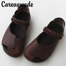 Careaymade-Foreign trade Vintage Leather Handmade womens shoes shallow open-toed woven sticker soft sole sandals single