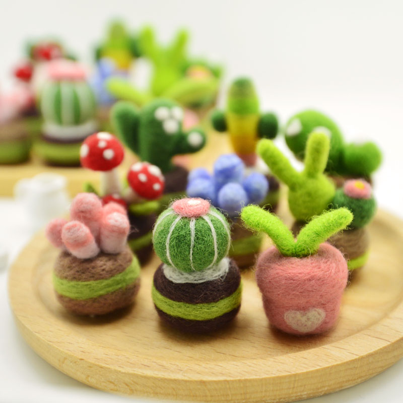Fun Craft Toy Colorful Succulents Wool Felt Poking Le Diy Kill Time Adult Handmade Toy Material Kit Gift For Children