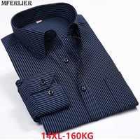 Hombres 10XL 9XL camisa clásica a rayas manga larga tamaño grande 5XL 6XL 8XL otoño 14XL hombre de negocios blusa Formal Oficina 12XL 54
