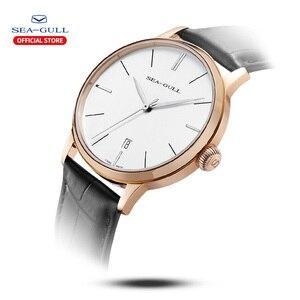 Image 2 - 2020 Чайка новые мужские часы бизнес простые автоматические механические часы кожаный ремень календарь Сапфир Мужские часы 519.12.6021