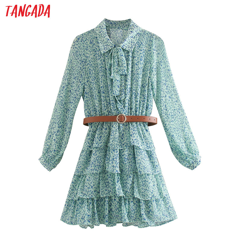 Tangada Fashion Women Blue Leopard Print Mini Dress With Belt Bow Ruffles Long Sleeve Ladies Vintage Chiffon Dress Vestidos 5Z53