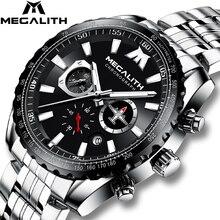 MEGALITH 2020 ساعة جديدة رجال الرياضة العسكرية كوارتز ساعة 30 متر مقاوم للماء كامل الصلب حزام طائرة مؤشر Lumnious ساعة اليد الرجال