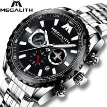 MEGALITH 2020 새로운 시계 남자 스포츠 군사 석영 시계 30M 방수 전체 스틸 스트랩 비행기 포인터 Lumnious 손목 시계 남자