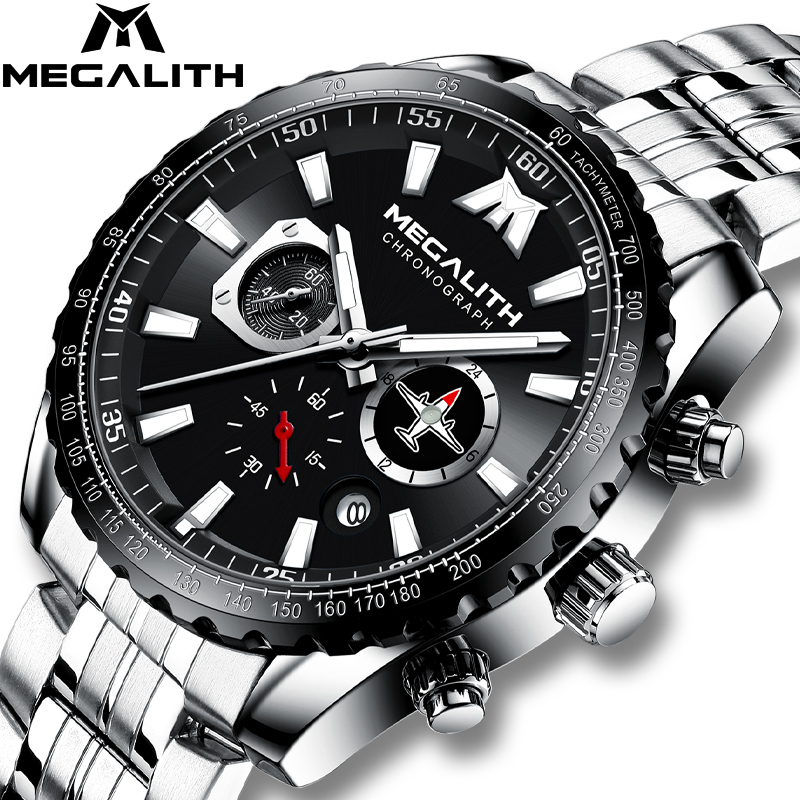 MEGALITH 2020 New Watch Men Sport Military Quartz Clock 30M Waterproof Full Steel Strap Airplane Pointer Lumnious Wristwatch Men