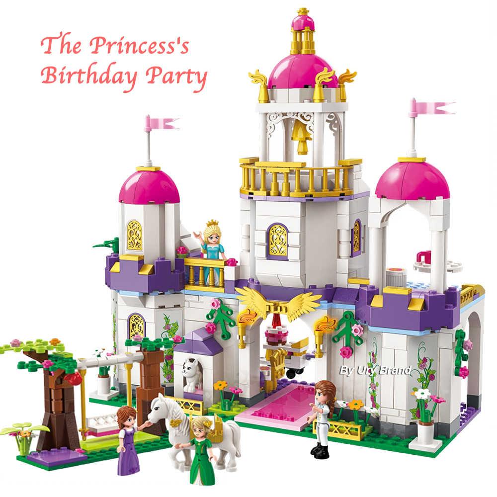 Qman 2610 قلعة حفلة عيد ميلاد الأميرة ليا مجموعة شخصيات الحصان سوينغ لتقوم بها بنفسك ألعاب مكعبات البناء بنات هدايا الإبداعية 587 قطعة