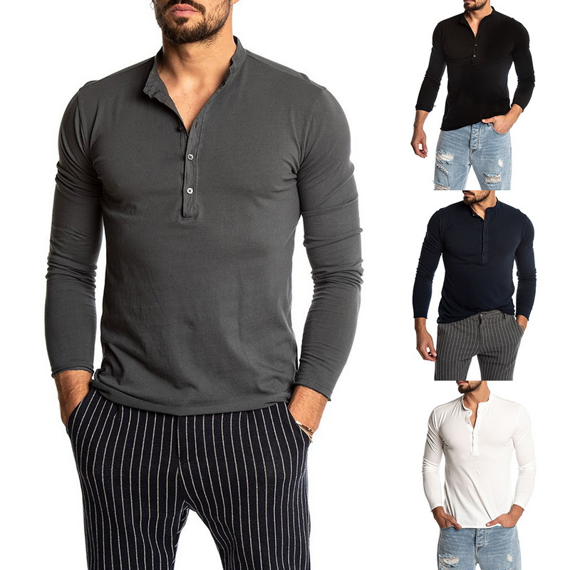 Fashion Men's Solid Color Long Sleeve O-neck T-shirts Mens Casual Slim Fit Henley Shirts Sweatshirt Joggers Tops 2019 New