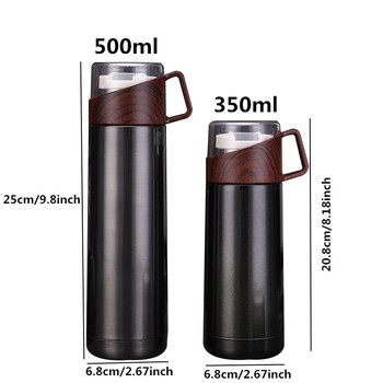 New 350ml/500ml Vacuum Flasks Protable Vacuum Water Bottle 304stainless steel Thermos Cup Wood Grain Jazz Drinking Cap 6