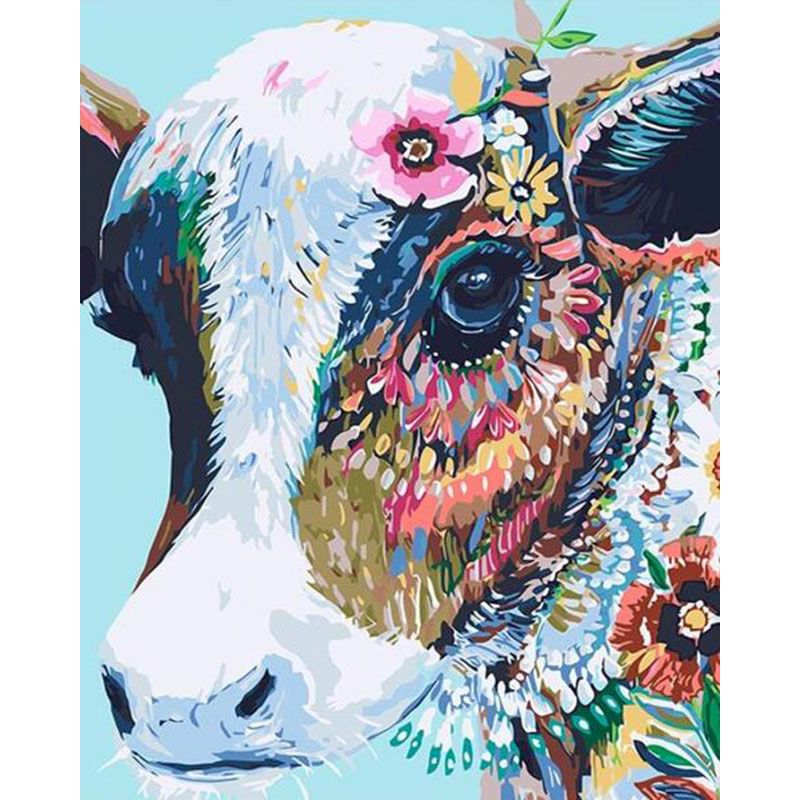 Animal Colorful cute cattle Painting by Numbers DIY Full Set Acrylic Paint Unique Gift Oil Painting By Numbers Home Decor-0
