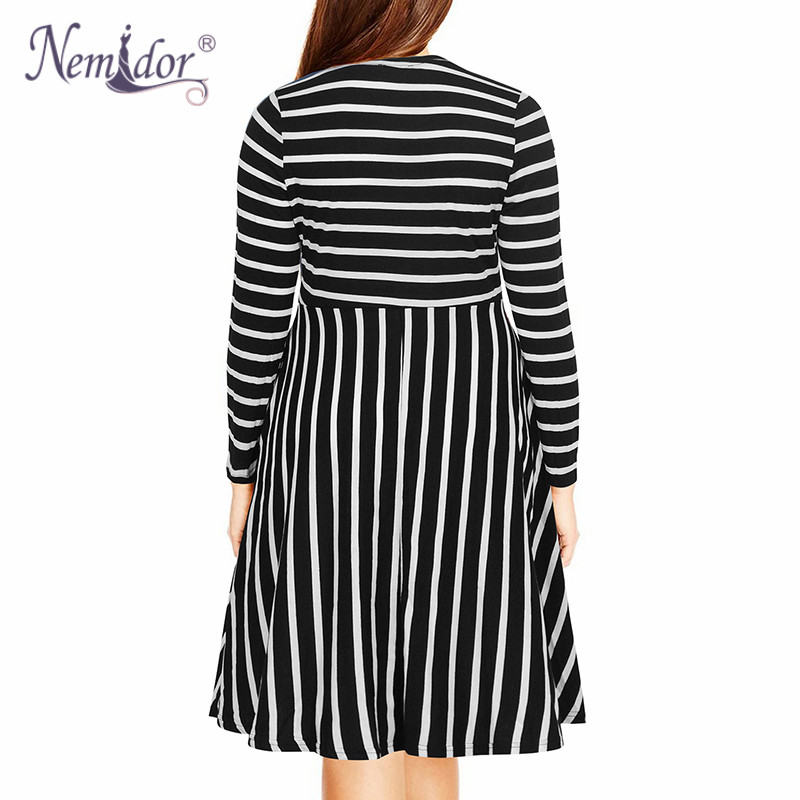 Nemidor Women's Round Neck Summer Casual Plus Size Fit and Flare Midi Dress with Pocket (4)