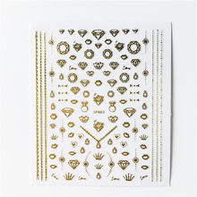 1 Pcs Golden Diamond Nail Sticker Nail Decal Bloem Geometrische Manicure Nail Art Polish Diy Nail Art Accessoires Decoratie Gereedschappen(China)