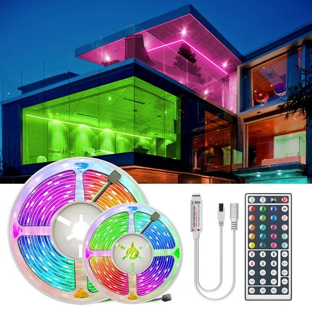 Ledストリップライトrgb 5050 smd 2835柔軟なリボンフィッタledライトストリップrgb 5メートル10メートル15メートルテープダイオードdc 12v + リモコン + アダプタ