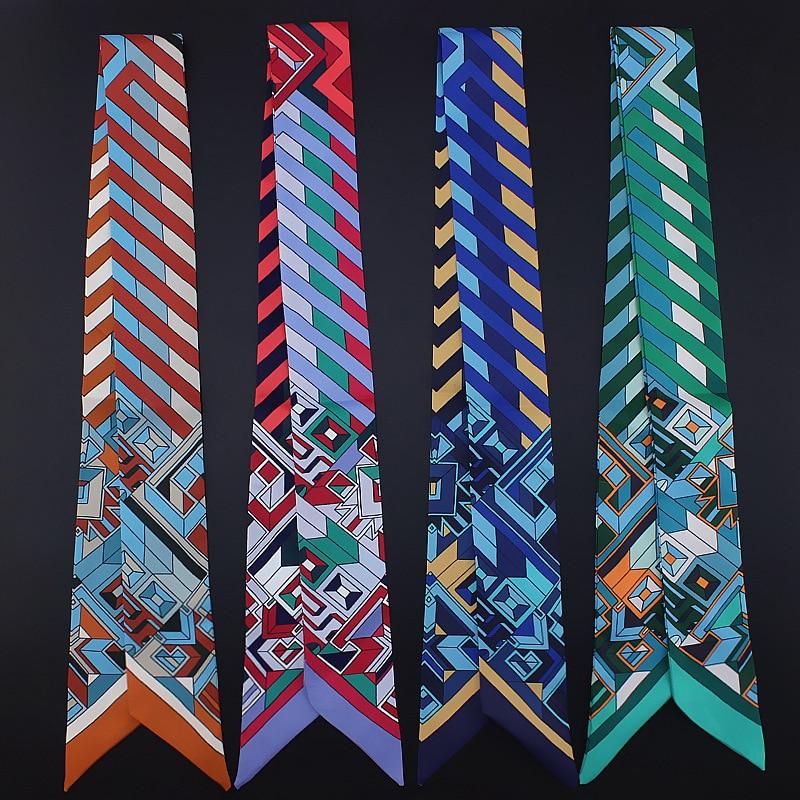 Geometry Stripe Long And Thin Narrow Scarf Tie Bags Gamepad Small Ribbon Silk Scarves Woman Neckerchief Cravat Hair Band 100*5cm