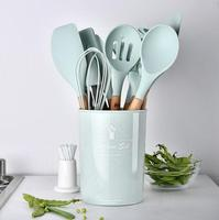 hot 11pcs Silicone Cooking Utensils Set Non stick Spatula Shovel Wooden Handle Cooking Tools Set With Storage Box Kitchen Tools
