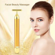 24k Gold Vibration Facial Slimming Face Beauty Firming Roller Massager Lift Skin Tightening Wrinkle Bar